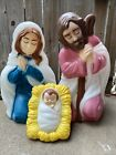 Jesus Mary And Joseph Nativity Blow Mold Set Of 3 AS IS
