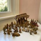 Vintage ANRI KUOLT Hand Carved Wooden Nativity Set Rare 29 Pieces NO JESUS