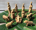 Vintage Olive Wood Carved Handmade Christmas Nativity 12 Piece Set Creche small