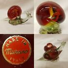 Murano Glass Snail 1960s VINTAGE Scarlet Hand Made Blown Ornament RETRO 26 kgs