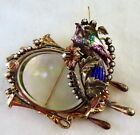 ANTIQUE VICTORIAN HUGE ENAMELED SEED PEARL LOCKET GOLD  SILVER MASTERPIECE