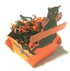 Vintage Halloween Cardboard Tab  Slot Candy Container Nut Cup Jol Cat Bat Owl