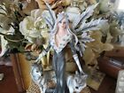 9 1 2 Blue eyed Blonde haired Fairy Figurine in Black with Two Wolves New