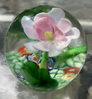 vintage art glass millefiori and large pink flower paperweight great colors 3H