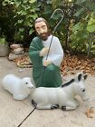 Vintage EMPIRE Blow Mold Christmas Light Outdoor Nativity Shepherd Sheep Donkey