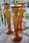 Set of Three 11 Tall Bohemian Etched Amber Glass Candle Holders