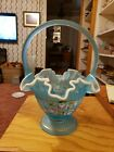 Fenton Charleton Collection Art Glass Hand Painted Aqua Blue Basket Signed
