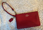 Coach Red Edge Studded Small Wristlet Goldtone NIBStyle 65540B Free Ship