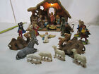 Vintage Italian Nativity Set Manger Scene light  Music Box 22 pc Made In Italy