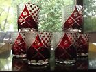6 Old Fashioned Tumblers Glasses Ruby Red cut to Clear Crystal Bohemian czech