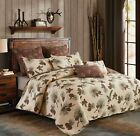 Lodge KING Quilt Set Forest Pine cone Quilt and KING Shams Bedding Set