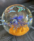 Paperweight Art Glass Round Butterflies Controlled Bubbles Multi Color