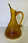 Blenko Rainbow Amber Bullicante Glass Pointed Spout Pitcher 95 in Vintage