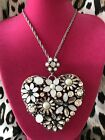 Betsey Johnson Something New HUGE Crystal Flower Heart Silver White Necklace
