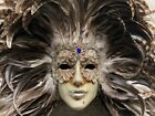 Authentic Venetian Carnival Wall Mask Hand made in Italy with Feathers