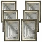 Studio 500 Black Distressed Picture Frames w Double Off White Mats MDF2915 6pcs