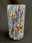 MURANO ITALY BLOWN GLASS MULTI COLORED MILLEFIORI VASE TUMBLER 6 TALL