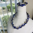 Beautiful Large Bead Oval Blue Hand Blown Glass Bead Necklace 21 23  Bracelet
