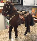Antique Horse Statue Real Horse Hair  Glass Eyes Saddle 95 Tall One of a Kind