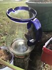 HAND BLOWN GLASS PITCHER BLUE COBALT TRIM AND HANDLE