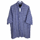 NEW Jos A Bank Reserve Button Front Shirt Large 100 Linen Blue White Check 99