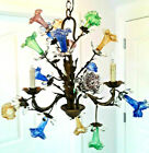 Multi Color Bouquet Glass Blown Flowers 3lite bronze Chandelier Crystal PLUG OP