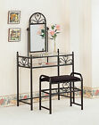Coaster 2 Piece Heart ShapeMetal Vanity Set With Glass Top and ShelfBlack 2432
