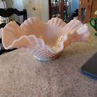 Pink Fenton Hobnail Bowl Large Ruffled Bowl Rose Pastel RARE 1950s Milk Glass
