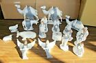 19pc Vintage Holland Mold Nativity Set Hand Painted Ceramic Blue and White