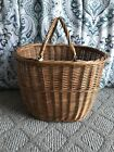 Vintage Double Handle Wicker Basket Poland Large 12 1 2 Tall Marked