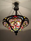 Tiffany Inspired Multi Colored Stained Glass Chandelier Pendant Ceiling Fixture