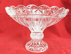 Clear Glass Fruit Bowl Compote Centerpiece Scalloped Rim Pedestal Footed Bowl