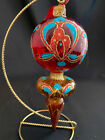 WATERFORD HEIRLOOMS SAPPHIRE DROP RED TURQUOISE JIM OLEARY CHRISTMAS ORNAMENT