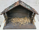 Vintage Large Rustic Wood Nativity STABLE ONLY Manger Creche Christmas 13 x 18