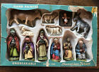 1950s Hand Painted Plastic Nativity Bavarian Forest West Germany 13 Pc Christmas