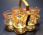 Art Deco Glass Caddy 6 Glasses Prohibition Cordial Aperitif Chrome Carrier