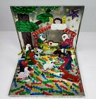 Mexican Tin Nativity Pop Up Pieces Storing Metal Box Manger Scene Christmas