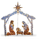 Christmas Outdoor 55 in Crystal Splendor Nativity Set with 150 Mini Clear Lights