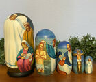 Russian Nesting dolls Matreshka Nativity 5 pieces Beautiful Set for Christmas