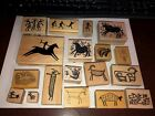 Lot of 19 Petro Petroglyph Native Indian Wood mounted Rubber Stamps