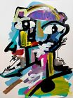 CORBELLIC ART ACRYLIC ORIGINAL PAINTING WILD ABSTRACT COLORFUL MAN ON PAPER NR