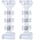 Set of 2 Candle Stick Crystal  Silver Cubes 7