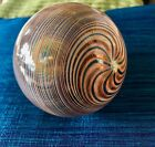 VINTAGE LARGE GORGEOUS MURANO GLASS XMAS ORNAMENT ITALY 3 TONE SPIRAL COLORS