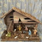 VTG Rustic Nativity Creche Scene Set Display Wooden Manger Stable Handmade Italy