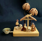 ERZGEBIRGE CARVED WOOD NATIVITY SCENE CANDLE HOLDER EAST GERMANY HOLY FAMILY