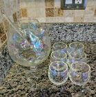 VINTAGE IRIDESCENT RAINBOW BUBBLE GLASS ELEGANT 8 PC COCKTAIL SET