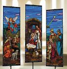 STAINED GLASS NATIVITY BANNER SET 3 X 9 BANNER WITH POLE HEM