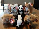 7 TY Beanie Babies Pouch, Mandy, Bonzer, American Blessing Whisper Stinky, Roary