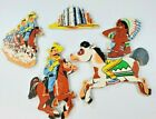 Vintage Cardboard Childrens Wall Decor Cut Outs Native Horse Soldier Calvary