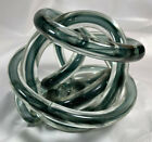 Blown Glass Rod Art Decor Centerpiece Abstract Twisted Rope Knot Gray Black 5